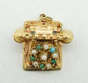 14k Yellow Gold Pearl Turquoise Coral Spinning Rotary Phone Charm 1 10.3g S2217