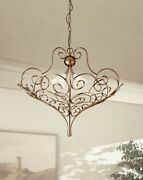 Suspended Lights Classic Metal And Glass Antique Silver White