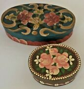 Vintage Primitive Wood Shaker Style Boxes 2 Hand Painted Flower Rosemaling