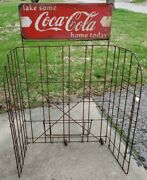 Vintage Antique Coca Cola Advertising Folding Wire Store Display Rack Sign