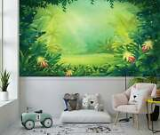 Cartoon Jungle With Ferns And Flowers Wallpaper - Large Wall Mural -