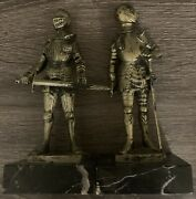 Genuine Carrara Marble Made In Italy Knight Figurines Lot Of 2
