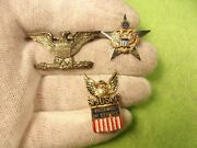Lot Of 3 Vtg Us Army Sterling Silver Pins - Husband In Service Eagle Flag Seal+