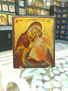 Mother Of God Sweet Kiss Hand Painted Orthodox Icon Mutter Gottes Ikone