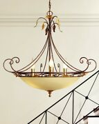 Suspended Lights Classic Metal And Glass Cream And Gold