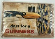 Guinness Dart Tin Sign Shield 3d Embossed Arched Metal Approximately 8 X 12nos