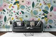 White Background Flowers - Floral Wallpaper - Large Wall Mural, Self-adhesive