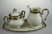 Rosenthal Germany Chippendale Sugar Bowl, Milk Pot And Plate