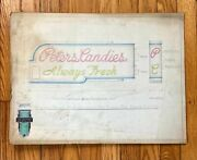 Vtg Antique Original 1940s Neon Sign Concept Drawing Peters Candies Candy Ooak