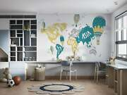 Kids World Map With Hot Air Balloons Wallpaper - Large Wall Mural -
