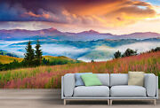 Foggy Summer Sunrise In The Mountains Wallpaper - Large Wall Mural,