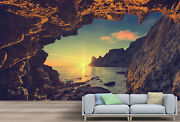 Vintage Sea Sunset From The Mountain Cave Wallpaper - Large Wall Mural,
