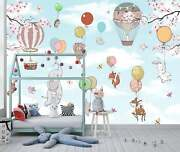 Animals In The Sky On Balloons Wallpaper - Large Wall Mural, Self-adhesive