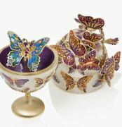 Jay Strongwater Sunset - Butterfly Egg Object Figurine 14k Gold Sdh7332-230 New