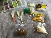 Fishing Lures, Worms, Weights Lot. In Plastic Case