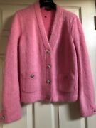19a Pre-fall Classic Pink Jacket Cc Logo Jeweled Gold Buttons Fr40- Fr38