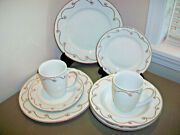 Pier 1 Holiday Scroll 8 Pc Dinnerware Set Dinner Plates Bowls Cups Gold
