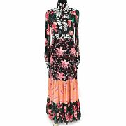 Floral Patchwork Silk Tiered Dress Pink/blue Size 40 New