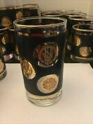 Vintage Libby Black And Gold Coin Barware
