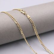 Real Pure 18k Yellow Gold Chain 3.0mmw Curb Womanand039s Fit Man Necklace 18and039and039l