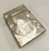 Antique Mother Of Pearl Slim Calling Card Case With Velvet Lining