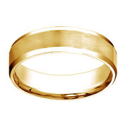 14k Yellow Gold Comfort Fit Satin High Polished Bevel Edge Band Ring Sz 10
