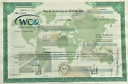World Commerce Online Early Internet Company Stock Certificate