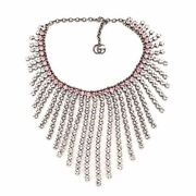 Fringe Collar Necklace Metal With Crystal
