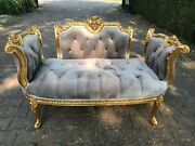 Unique New French Louis Xvi Chaise In Gray Velvet. Made To Order