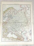 1898 Antique Map Of Russia In Europe Russian Empire Old 19th Century Victorian