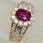 1.74ct Genuine African Ruby Diamond Halo Engagement Cocktail Ring Solid 14k Yg