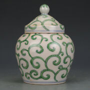 Chinese Antique Ming Green Color Grass Pattern Porcelain Tank Vases Cover Pot