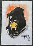 Azrael Sketch-hand Drawn Colored And Signed Barry Kitson W/coa 9x12