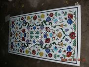 4and039x3and039 White Marble Center Table Top Floral Art Furniture Inlay Home Dandeacutecor E358