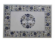 3and039x4and039 White Marble Top Center Dining Table Lapis Pauashell Inlay New Year Decor
