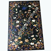4and039x3and039 Black Marble Top Dining Table Marquetry Inlay Floral Art Garden Decor E491