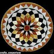 36 Black Marble Round Dining Table Top Inlay Pietra Dura Art Home Outdoor Decor