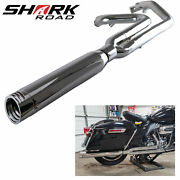 2 Into 1 Exhaust Pipe 4 Muffler For Harley Touring 1995-2016 Chrome