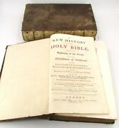 1742 And 44 Antique 18th Century Huge Tomes New History Of The Holy Bible Books