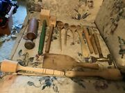 Vintage Wooden Kitchen Utensils Mixed Lot Of 12 Wooden Pounders Mashers Spoons