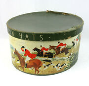 Vintage Stetson Oval Hat Box Hunting Party Fox Chase Hunt Country Scene