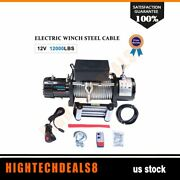 12000lb Electric Winch Steel Cable Truck Trailer Atv Utv Off-road Front Rear