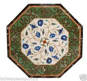 2and039x2and039 Marble Top Coffee Table Semi Precious Inlay Marquetry Outdoor Mosaic Decor