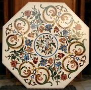 36 Inlay Marble Mosaic Home Decorative Side Table Top Floral Handmade E362