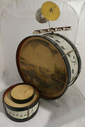 Noble And Cooley Vintage Tin Toy Drum Set - Music Note Theme