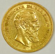 1888-a Germany/prussia 20 Mark Gold Coin For Friedrich Iii From The Berlin Mint