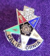 Vintage Jewelry Oes Eastern Star 25 Year Enameled Sterling Silver Lapel Pin