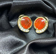 Natural 8 Ct Tw Mexican Fire Opal Earrings With Diamonds