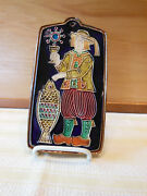 Wall Plaque Of Briton With Wine Glass And Fish Jean-claude Taburet As Quimper