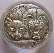 2015 Niue Snow Leopards Antique Finish 1 Oz. Of .999 Silver Coin Very Rare